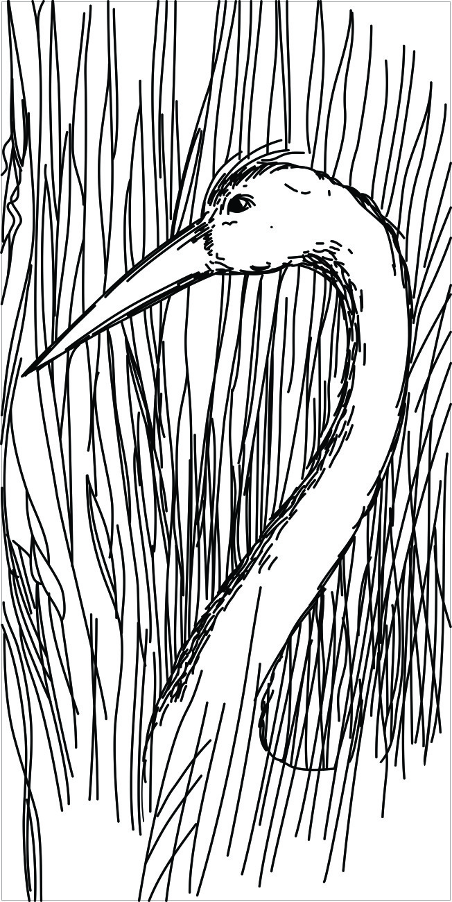 Crane - vector drawing formatted for engraving