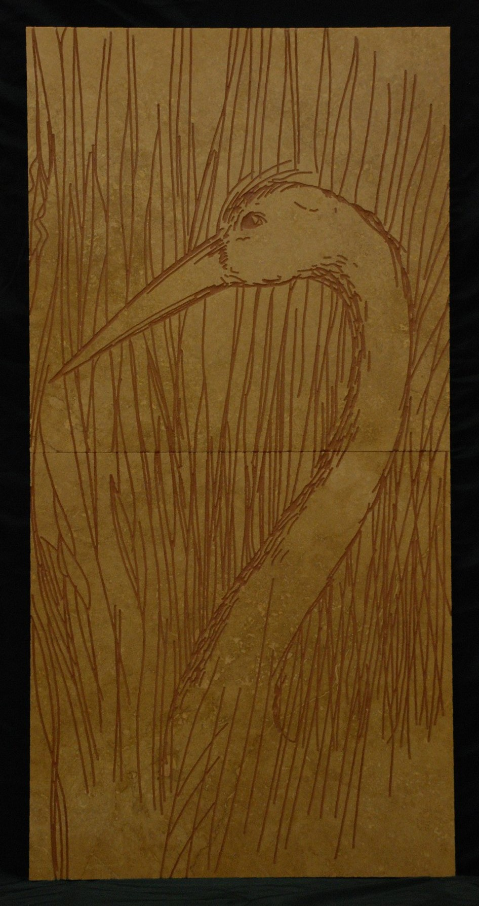 Crane - Engraving on travertine tiles