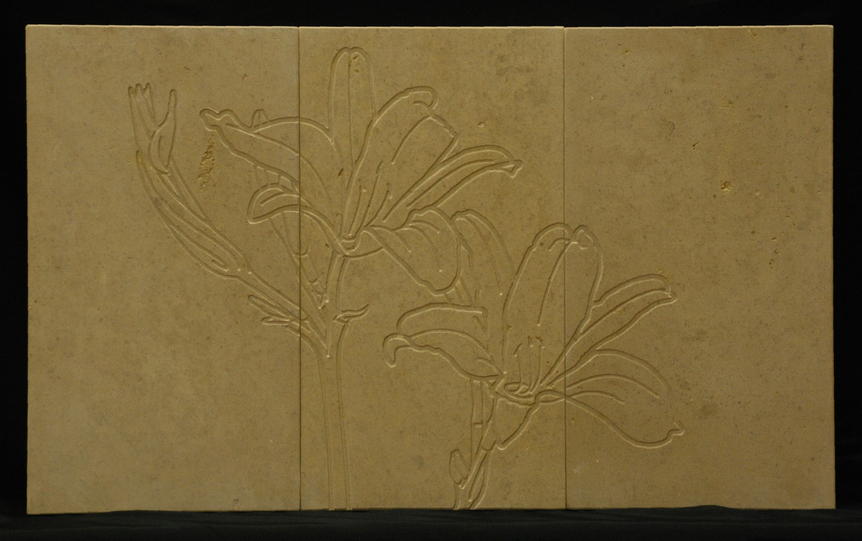 Consider the Lilies - Engraving on limestone tiles
