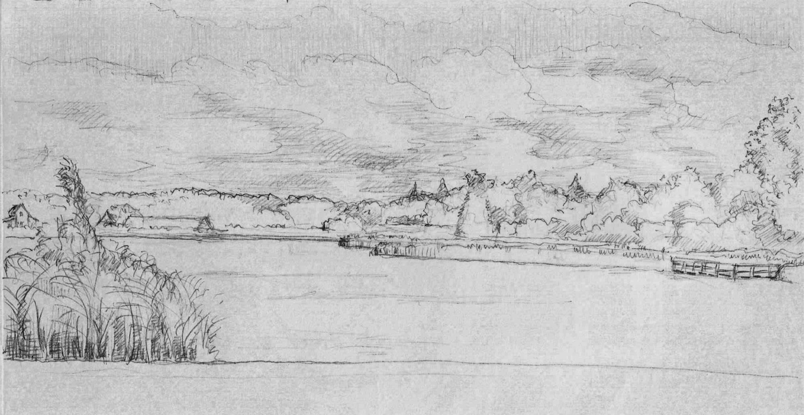 Lake Charlotte - Original pencil drawing