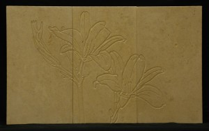 Consider the Lilies - engraving on limestone tile