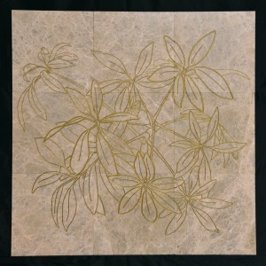 Fireworks - engraving on marble tiles