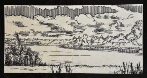 Lake Charlotte - engraving on marble tiles