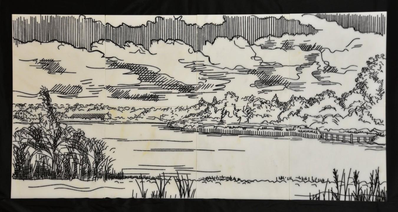 Lake Charlotte - Engraving on marble tile